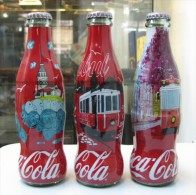 AC - COCA COLA ISTANBUL SERIES SHRINK WRAPPED 3 EMPTY GLASS BOTTLES & CROWN CAPS - Botellas