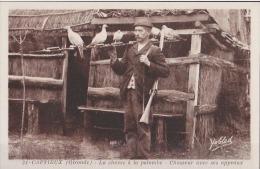 33) Captieux (Gironde) La Chasse à La Palombe - Chasseur Avec Ses Appeaux - Francia