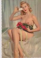 CPSM Femme Pose Nue Avec Un Bouquet De Roses Rouges. (GP La Rose - G.Picard, Paris N°218) - Pin-Ups