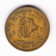 1955 British Caribbean Territories Eastern Group 5 Cent Coin - Bermuda