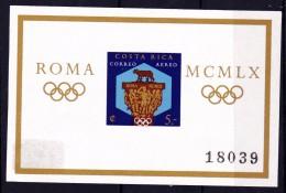 COSTA RICA   - 1960 - Michel N° Blok/bloc  N° 4 B -  ONGETAND  -  Olympische Spelen Rome - * - Costa Rica