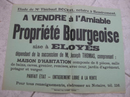 Affiche.  Vente notariale  REMIREMONT - ELOYES   Vosges (88)