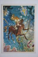 Sagittarius - Zodiac -  Arch - Old Soviet Postcard - Archer - Archery - Tir à L'Arc