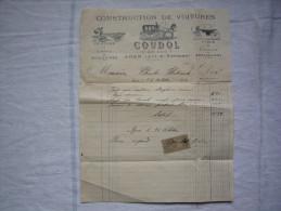 Belle Facture Construction De Voitures 1896 Maison Coudol Agen Lot Et Garonne Avec TP Fiscal - France
