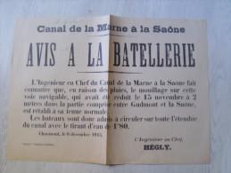 """52 - chaumont - canal de la marne � la saone  """" avis � la batellerie """" 39 cm x 28 cm"""