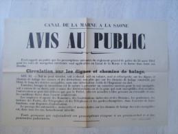 """52 - chaumont - canal de la marne � la saone  """" avis au public """" 50 cm x 32 cm - imprimerie cavaniol"""