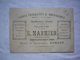 CDV Pub S. Marmier Horticulteur Vignes Françaises Et Américaines ... Parcs Et Jardins à Romans Drôme - Tarjetas De Visita