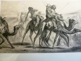 LITHOGRAPHIE ORIENTALISTE De JULES LAURENS - NUBIENS En VOYAGE - D'après Prosper MARILHAT - LEMERCIER Imprimeur 1852 - Lithographies