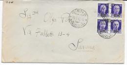 19.6.1945 QUARTINA 50c. IMPERIALE SOPRASTAMPA P.M. IN LUOGOTENENZA DA SIENA X SAVONA - Storia Postale
