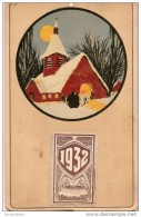 Calendrier/Support D'èphémeride Usagé/Carton Imagé/Eglise Sous La Neige/La Messe De Minuit/1932          CAL251 - Unclassified