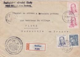 TCHECOSLOVAQUIE - OLOMOUC - Recommandé De Unicov Vers Flers France - 31- XII - 54 Cachet De L´Ecole Nationale D´Sukolom - Tchécoslovaquie