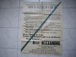 grande affiche �lectorale 1952 l�gislatives en Haute Loire Antoine Alexandre  60 X 80 cm