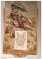 Calendrier/Support D´èphémeride Usagé/Carton Imagé/Pique Nique Sur La Dune En Bord De Côte Sous La Pluie//1911    CAL257 - Calendars