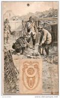 Calendrier/Support D´èphémeride Usagé/Carton Imagé/Guerre 14-18/Poilus Dans Les Tranchées//1918    CAL259 - Calendriers