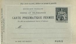 CARTE PNEUMATIQUE FERMEE  DE  50 CENTIMES  NEUVE - Entiers Postaux