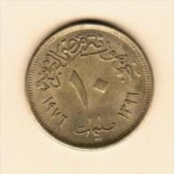 EGYPT   10 MILLIEMESS 1976 (AH 1396) (KM # 449) - Egypt