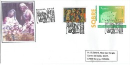 ENTIER POSTAL ESPAÑOL. Affranchi Supplementaire NOËL 2014, Oblit.Premier Jour, Adressé En Espagne. - Lettres & Documents