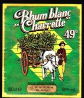Etiquette De RHUM -  RHUM BLANC CHARRETTE - Ile De La REUNION - Rhum