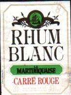 """Petite Etiquette De RHUM -  RHUM BLANC """"La MARTINIQUAISE""""  Carré Rouge - Rhum"""