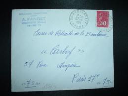 LETTRE TP MARIANNE DE BEQUET 0,50 OBL.27-4-1971 26-ANDANCETTES (26 DROME) A. FANGET BOUCHERIE CHARCUTERIE - Marcophilie (Lettres)