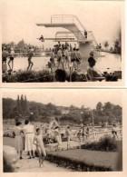 Photo Originale Plage Et Maillot De Bain - 2 Photos - Autour De La Piscine Et Du Plongeoir - Toboggan - Bronzage - - Pin-Ups