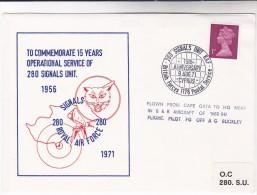 1971 British Forces CYPRUS EVENT COVER Illus LYNX CAT 280 Signals Unit Anniv RAF Gb Stamps Linx - Cyprus (Republic)