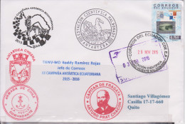 Ecuador 2015 Antartica Scientific Station P. V. Maldonado With Philatelic Exposition Stamp Of Panama Canal - Ecuador