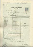 KINGDOM OF CROATIA, SLAVONIA & DALMAZIA -- PITOMACA , VARAZDIN,  CERTIFICATE, GYMNASIA,  1913 - TIMBRE FISCAL, TAX STAMP - Diplome Und Schulzeugnisse