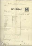 KINGDOM OF CROATIA, SLAVONIA & DALMAZIA -- PITOMACA , VARAZDIN,  CERTIFICATE, GYMNASIA,  1909 - TIMBRE FISCAL, TAX STAMP - Diplome Und Schulzeugnisse