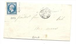 Loiret - Neuville Aux Bois Pour Le Mans. PC + CàD Type 15. Indice 8 - 1849-1876: Classic Period