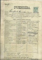 CROATIA  / AUSTRIA  --  ZENSKA UCIT. SKOLA U SAMOSTANU  Ss MILOSRDNICA , CERTIFICATE  - 1900  - TIMBRE FISCAL, TAX STAMP - Diplome Und Schulzeugnisse