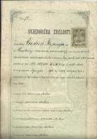 CROATIA  / AUSTRIA  --  ZENSKA UC.. SK. U SAM.  Ss MILOSRD.  CERTIFICATE  - 1900  -  BIG VALUE  TIMBRE FISCAL, TAX STAMP - Diplome Und Schulzeugnisse