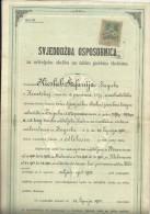 CROATIA  / AUSTRIA  --  ZENSKA UC.. SK. U SAM.  Ss MILOSRD.  CERTIFICATE  - 1900  -   TIMBRE FISCAL, TAX STAMP - Diplome Und Schulzeugnisse