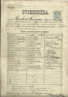 CROATIA  / AUSTRIA  --  ZENSKA UC.. SK. U SAM.  Ss MILOSRD.  CERTIFICATE  - 1899  -   TIMBRE FISCAL, TAX STAMP - Diplome Und Schulzeugnisse