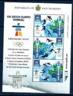 2010 SANMARINO Giochi Olimpici Invernali Foglietto Nuovo ** MNH