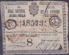LOT.118 CUBA ESPAÑA SPAIN. 1843. COLONIAL LOTTERY. SORTEO 376. - Lottery Tickets