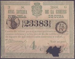 LOT.119 CUBA ESPAÑA SPAIN. 1844. COLONIAL LOTTERY. SORTEO 388. - Lottery Tickets