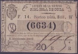 LOT.123 CUBA ESPAÑA SPAIN. 1870. COLONIAL LOTTERY. SORTEO 848. - Lottery Tickets