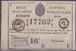 LOT.124 CUBA ESPAÑA SPAIN. 1841. EXTRAORDINARY COLONIAL LOTTERY. SORTEO 2. - Lottery Tickets