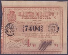 LOT.126 CUBA ESPAÑA SPAIN. 1844. EXTRAORDINARY COLONIAL LOTTERY. SORTEO 44 - Lottery Tickets