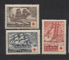 P598.-. FINLAND / FINLANDIA. 1937. SC # : B24 - B26 - MH- RED CROSS - SHIPS .-. CV: US $ 15.00 - Oficiales