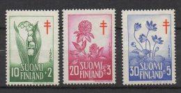 P606.-. FINLAND / FINLANDIA. 1958. SC # : B148- B150 - MNH- TUBERCULOSIS - FLOWERS .-. CV: US $ 6.00 - Oficiales