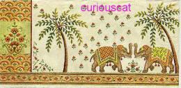 2 SINGLE PAPER HANDKERCHIEFS NAPKIN PAPIER TASCHENTUCH SERVIETTE TOVAGLIOLI MOUCHOIR Of INDIAN ELEPHANT PALM TREES - Serviettes Papier à Motif