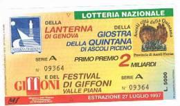 LOTTERIA NAZIONALE LANTERNA DI GENOVA, GIOSTRA DELLA QUINTANA DI ASCOLI PICENO E FILM FESTIVAL DI GIFFONI   1997 - Billetes De Lotería