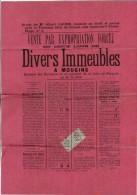 AFFICHE VENTE PAR EXPROPRIATION FORCEE DE DIVERS IMMEUBLES A MOUGINS 06 MAITRE ALBERT LAURE 1895 GRASSE TIMBRE AFFICHES