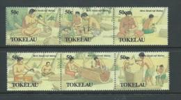 Tokelau 1990 Men's Handicraft set of 2 strips of 3 MNH