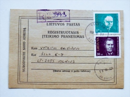 2 Photos Registered Certificate Of Mailing From Lithuania 1998 Vilnius Famous People - Lithuania