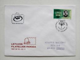cover sent from Lithuania 1997 Vilnius special cancel fdc birziska philatelic exhibition