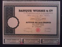 1 Banque WORMS-Paris Action 100 FR + Coupons    SPÉCIMEN    Numéro 00000 - Aandelen