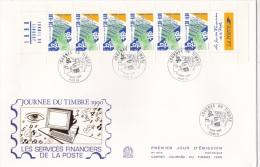 France FDC 1990 Carnet Journee Du Timbre - Booklet Pane (L75-9B) - FDC